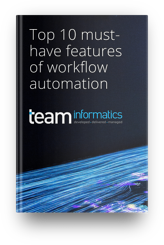 TEAM Informatics - eBook 3D mockup - Top 10 must have features of workflow automation